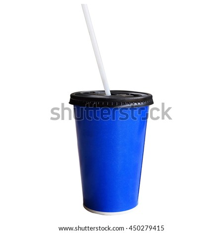 blue cardboard cup with a straw. Isolated on a white. - stock photo