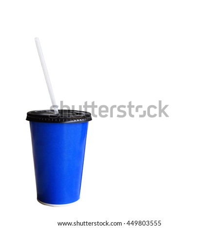 blue cardboard cup with a straw. Isolated on a white. and space copy. - stock photo