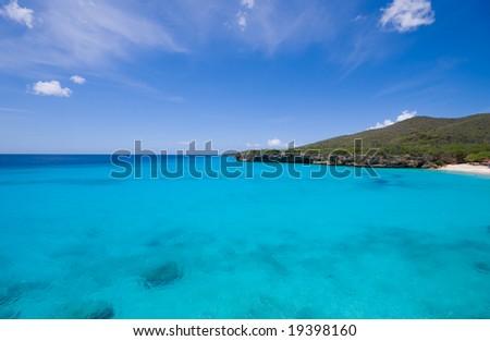 blue caribbean bay view - stock photo