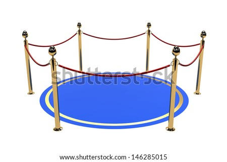 Blue carpet with fence for gallery or museum