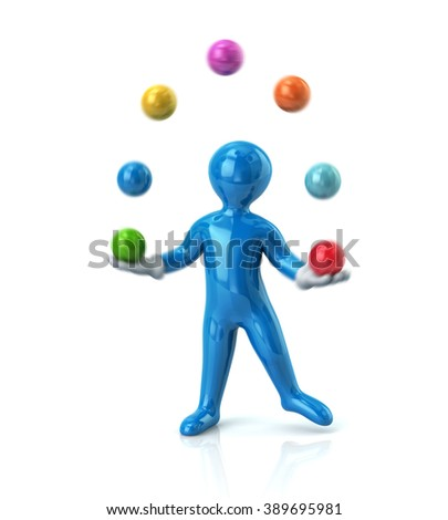 Blue cartoon man juggles with a balls isolated on white background - stock photo