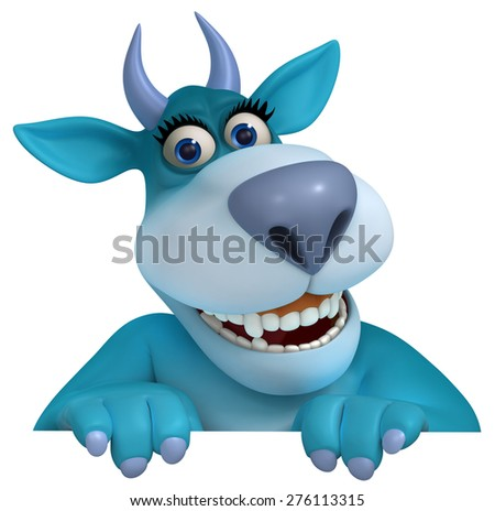 blue cartoon monster 3d - stock photo