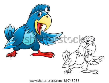Blue cartoon parrot isolated on white background. Vector version also available in gallery - stock photo