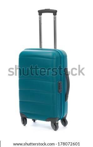 Blue case isolated on the white background. Cabin size. - stock photo