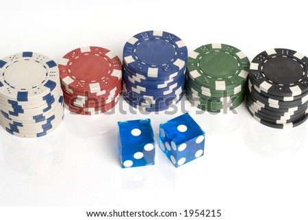 Blue Casino Dice with Snake Eyes and chips