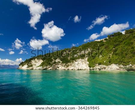 Blue caves along the shore of Zakynthos  - stock photo