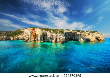 Blue caves, Zakynthos island, Greece - stock photo