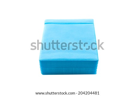 Blue CD paper case on white background. - stock photo