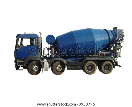 Blue Cement Mixer Truck isolated on white. - stock photo