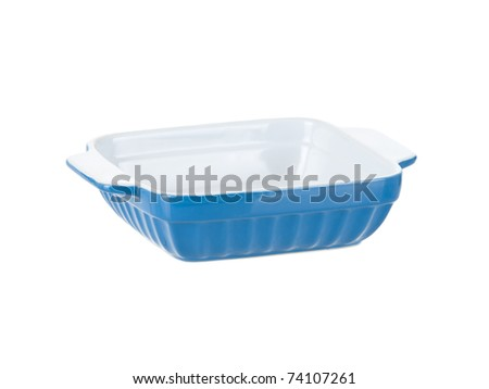 Blue ceramic cooking dishware front view isolated on pure white background - stock photo