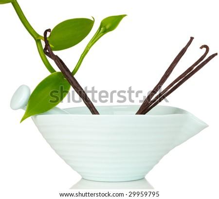 Blue Ceramic Mortar & Pestle With Vanilla Planifolia Vine and Dried Vanilla Pods - stock photo