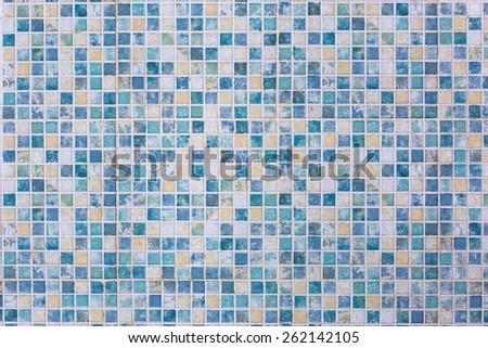 Blue ceramic square tile - stock photo