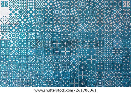 Blue ceramics mosaic azulejo texture in Lisbon. Geometrical shapes and patterns. - stock photo