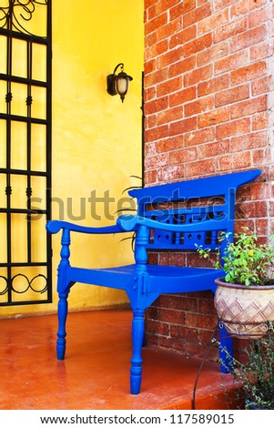 Blue chair in interior room - stock photo