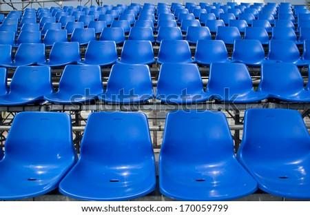 blue chair Temporary stadium - stock photo