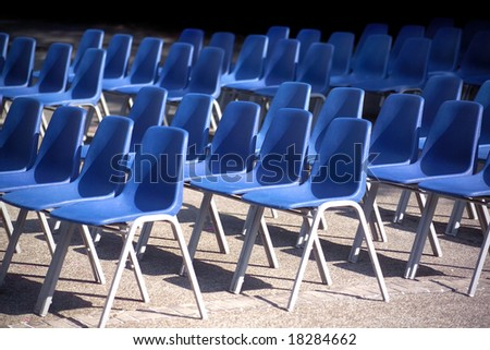 blue chairs in a row