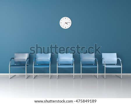 Blue chairs in the blue waiting room 3D render