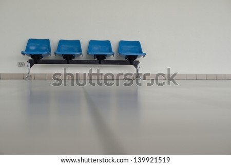 Blue chairs with the room space