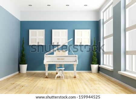 Blue chamber music  with a white grand piano -rendering - stock photo