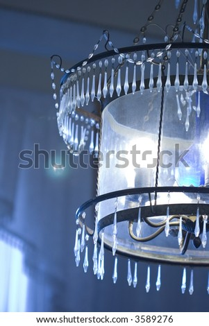 blue chandelier in Palace (Crimea) - stock photo