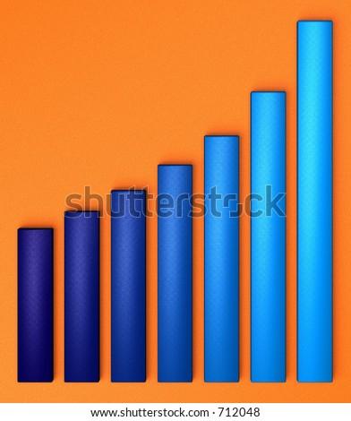 Blue chart growing up, on orange background - stock photo