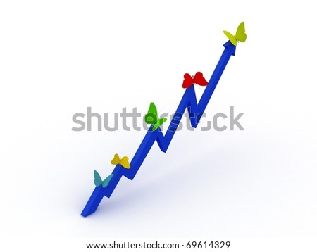 Blue Chart with color butterfly - stock photo
