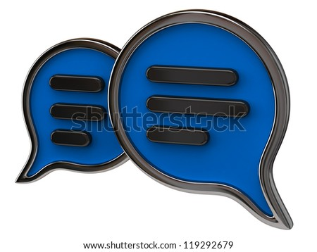 Blue chat icon isolated on white background - stock photo