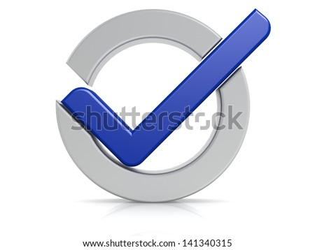Blue check mark circle - stock photo