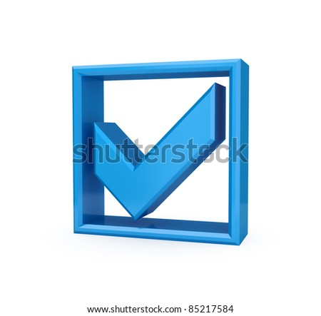 Blue checkmark icon. Isolated on white background. 3d rendered. - stock photo