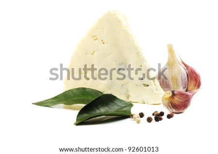 Blue cheese  and some olives and  spice on a white background - stock photo