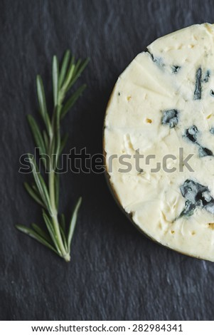 blue cheese and twig of rosemary. top view - stock photo