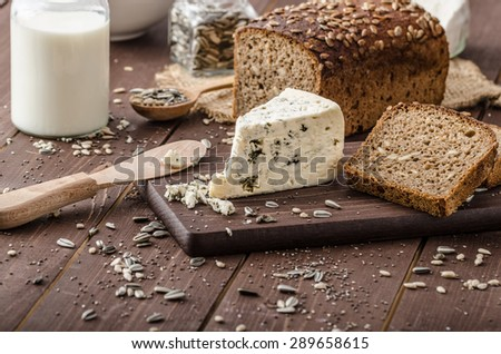 Blue cheese delicious cheese, product photo, simple - stock photo