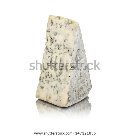 Blue cheese isolated on white with reflection - stock photo