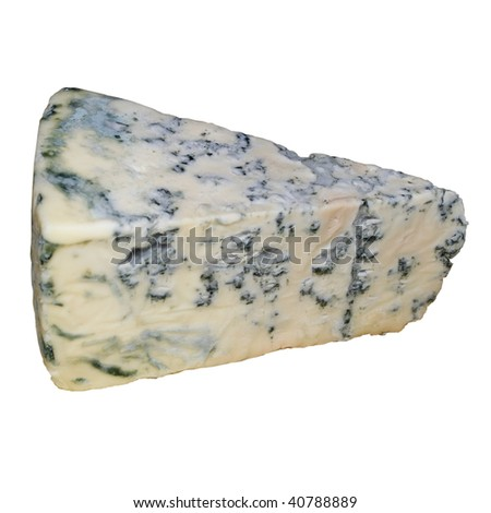blue cheese on a white background - stock photo