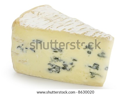 blue cheese on white background - stock photo