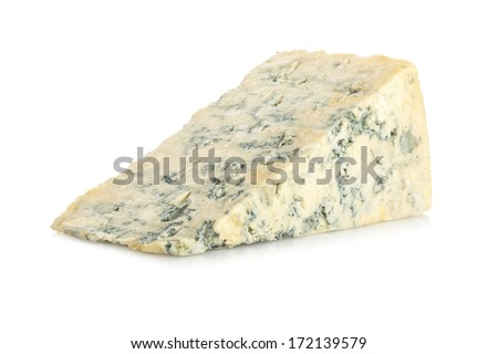 Blue Cheese on White Background - a portion of blue cheese on a white background with soft natural shadow. - stock photo