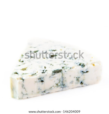 Blue cheese with a noble mould on white background, traditional snack - stock photo