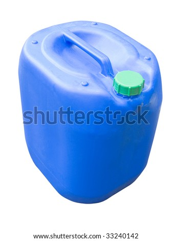 Blue chemical plastic canister with handle isolated on white - stock photo