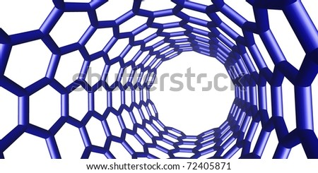blue chemical structure on white - stock photo