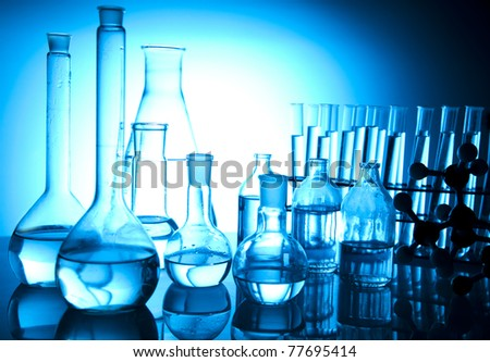 Blue chemistry vials, Laboratory equipment