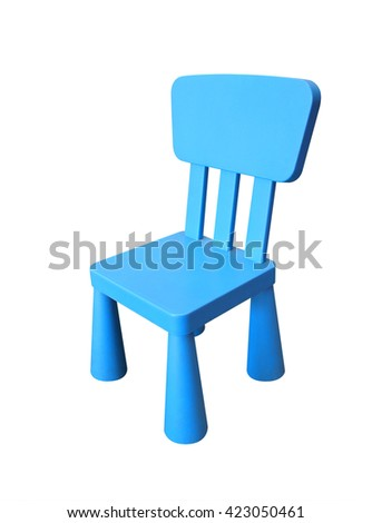 Blue children plastic chair isolated on white background, Clipping path included.