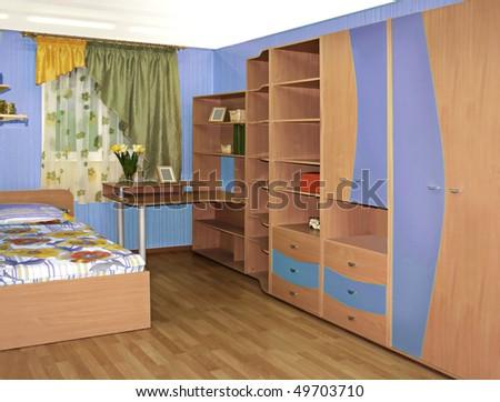 blue children room - stock photo