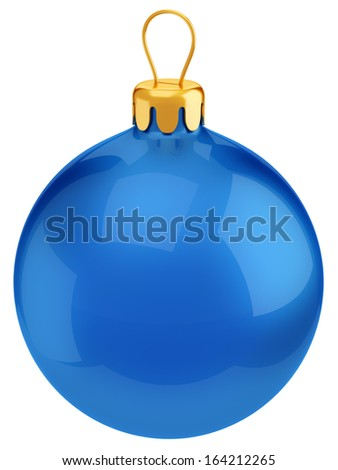 Blue Christmas and New Year decoration glossy ball isolated on white background
