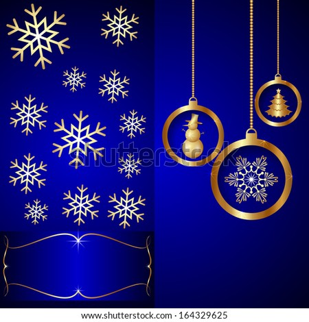 Blue Christmas and New Year Invitation Card with Golden Balls ans Snowflakes