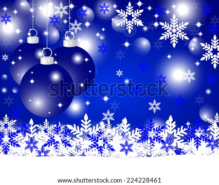 Blue Christmas background with Christmas balls and snowflakes