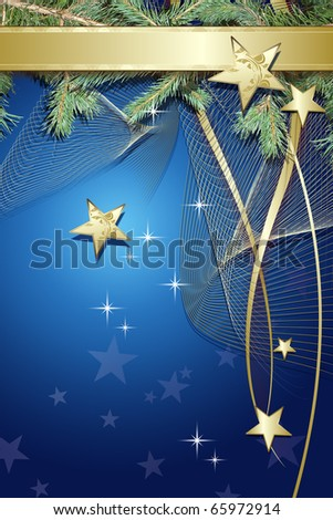 Blue Christmas background with  decorations - stock photo