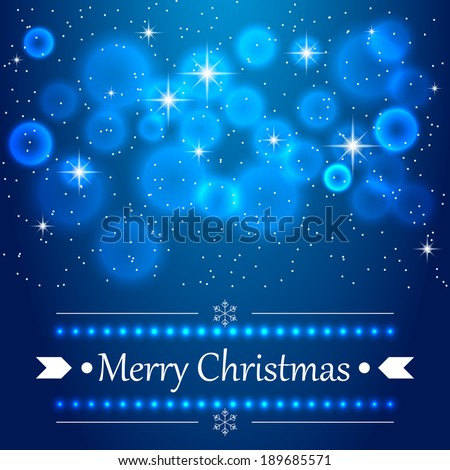 Blue Christmas background with flares on the sky. Raster version - stock photo
