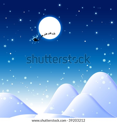 Blue Christmas background with Santa Claus - stock photo