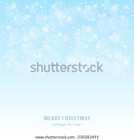 Blue Christmas background with snowflakes and blurry lights, illustration.