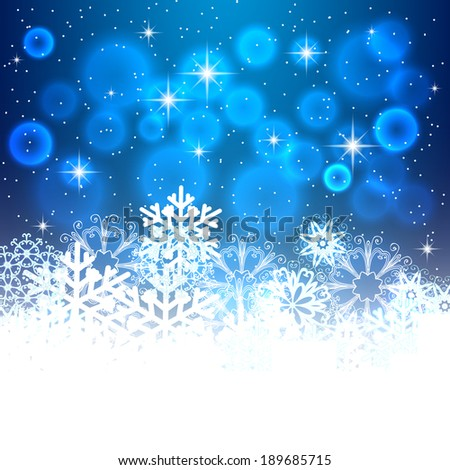 Blue Christmas background with space for text. Raster version - stock photo